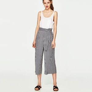 Zara cropped wide leg culottes pants checked